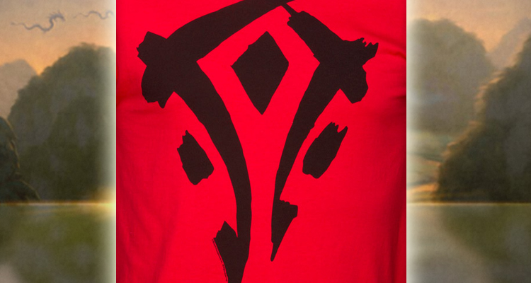 j!nx魔兽世界熊猫人之谜部落logo男款t恤